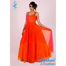 Ladies Sleeveless Plain Party Wear Gown, Size: S-XL