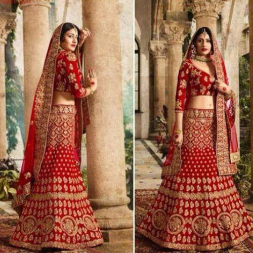 afceacca25 Velvet Red Bridal Lehenga Choli, Rs 1700 /piece, Payal Embroidery ...