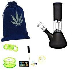 Newzenx Glass Percolator Ice Bong 8 Inches (8 cm x 8 cm x 20 cm, Black) Including Crusher & Access