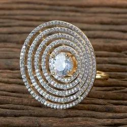 Brass White Two Tone Plated CZ Classic Ring 406293