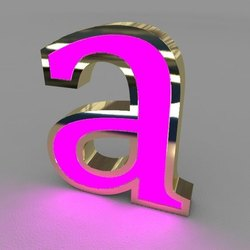 Golden Mirror Finish SS Titanium Gold Collar Letters, For Advertisement