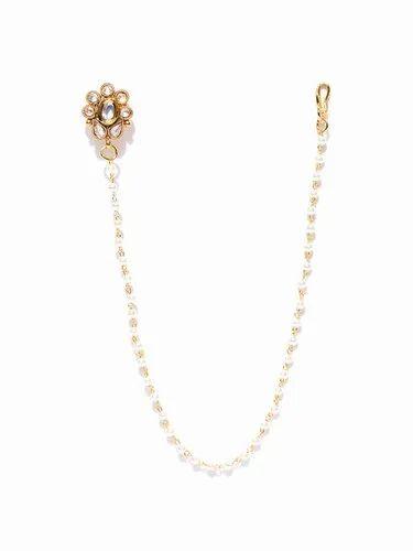 Wedding Priyaasi Gold Plated Kundan Nose Ring Nath With Pearl