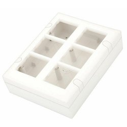 White Plastic Modular Surface Gang Box, 6 Ways