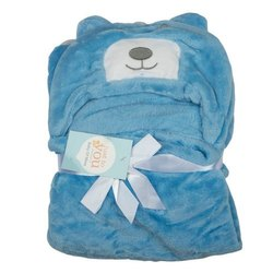 Baby Blanket With Hood Blue Bear