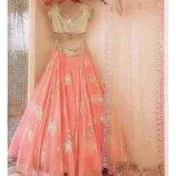 Peach Color Heavy Net Embroidered Worked Lehega Choli, Age: 18-25