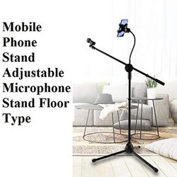 Tripod Microphone Floor Stand With Mobile Holder