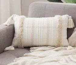 Handwoven Boho Pillow Covers Tassel Cushion Covers Indian Tufted Throw Pillows