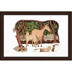 Two Horses Wood Carving Frame, Size: 10 x 14 inch