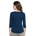 Women 100% Cotton Solid Blue Henley T-shirt
