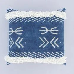 Indigo Dabu Tufted Throw Pillow Cushion Cover