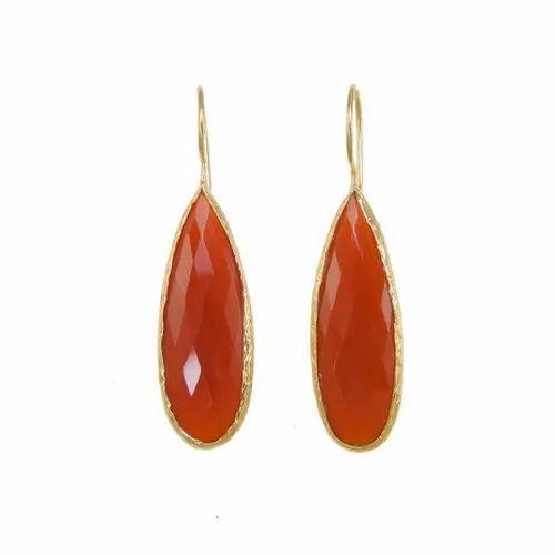 925 Sterling Silver Carnelian Pear Shape Bezel Gemstone Earrings