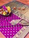 Banarasi Silk Casual Wear Magenta Saree With Blouse Piece