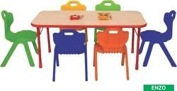 Trends Enzo Model Wooden Rectangle Table for Play School with Metal Legs