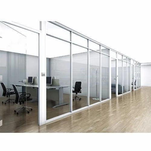 Simple White Aluminum Glass Office Partitions Wall