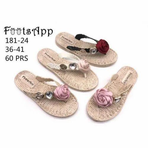 Ladies Rose Design Flat Slipper, Size