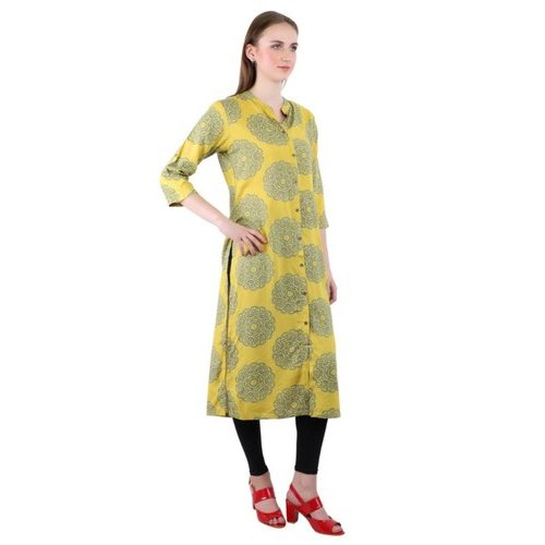 Yellow Straight Rayon Ladies Kurti, Size: Large