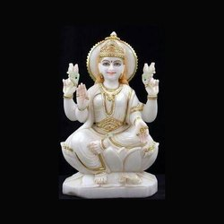 Gold Plated Marble Laxmi Statue