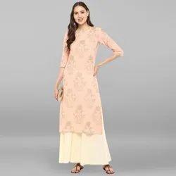 Janasya Women's Light Pink Pure Cotton Kurta With Palazzo(SET104)