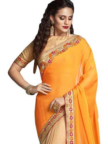 e7866a646123c5 Silk Mango With Beige Color Saree With Blouse Piece