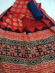 Hand Block Bagru Printed Unstitched Chanderi Silk Suit Set