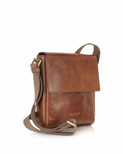 Brown Men Leather Cross Body Bag