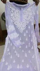 3/4th Sleeve Georgette Chikankari Angarakha Kurti, Wash Care: Handwash
