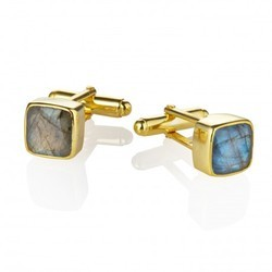 925 Sterling Silver Labradorite Gold Plated Mens Cufflinks Gift Jewelry Husband