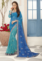 Casual Wear Blue Color Georgette Printed Saree With Blouse