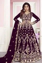 Purple Party Wear Embroidered Anarkali Suit