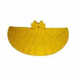 Party Wear Stitch Kids Yellow Long Gown, Size: Xl, Xxl