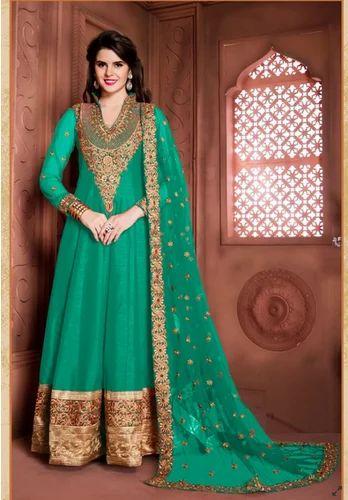 0143ffa6aa Turquoise Colored Banglori Silk Anarkali, Anarkali, Anarkali Dress ...