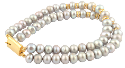 Grey Pearl Multi Strand Bracelet Women