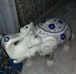 Elephant Statue In White Makrana Marble