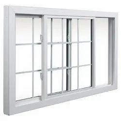 White UPVC Sliding Window, Thickness Of Glass: 3-5 Mm