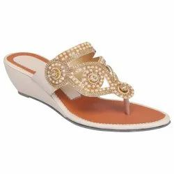 Synthetic Leather Party Wear Ladies Flats Sandals