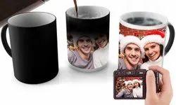 Simple Plane Ceramic Magic Photo Printed Mug, For Gifting, Packaging Type: Simple Brown Box
