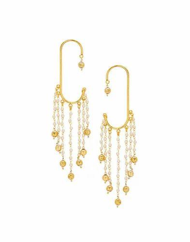 Bindhani Pearl Chain Ear Cuff Earring Set