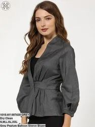Grey Peplum Balloon Sleeve Blazer