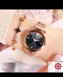 RADHA RANI Round Magnetic Belt Watches