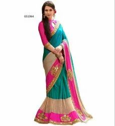 Party Wear Border EMBROIDERY SAREE