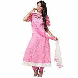 Pink Churidaar Cotton Suit