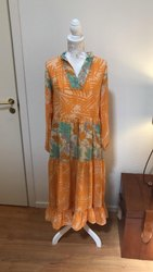 Women 's Vintage  Silk Sari Maxi Gown Dress