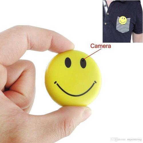 Smiley Face Badge Spy Camera