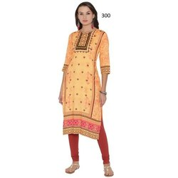 Traditional 3/4 Sleeve Printed Crepe Kurti