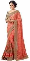Border Traditional Party wear Special Net Embroidery Saree(K678), Size: Free Size, 6.3 mt(With Blouse Piece )