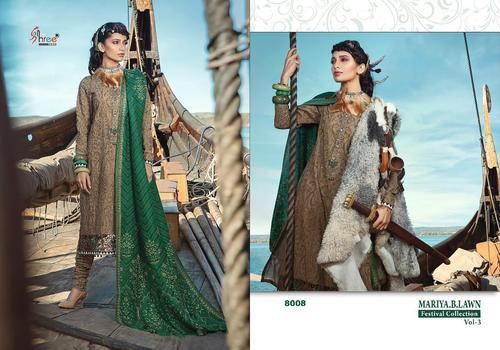 Semi Lawn Fabric Embroidered Unstitched Party Wear Salwar Suits bd8ca785f