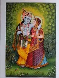Radha Krishna Hand Painted Painting Water Color on Canvas Very Fine Work.