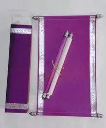 Purple Scroll Invitation Cards