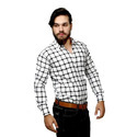 White Black Checkered Slim Fit Casual Shirt