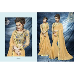 Party Wear Embroidered Chiffon Ladies Saree, With Blouse Piece